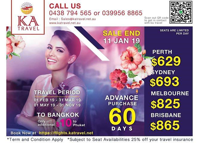 ka travel, dekaus, book flight, thailand, australia